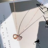 高檔扇貝殼珍珠微鑲鉆鎖骨鍊項鍊簡約氣質保色女禮物頸鍊禮物個性