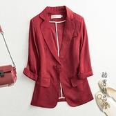 醋酸緞面西裝外套女七分袖2020夏季休閒薄款白色防曬西服短款上衣 酷男精品館