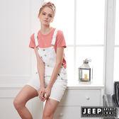 【JEEP】女裝 甜美女孩造型休閒吊帶褲-白