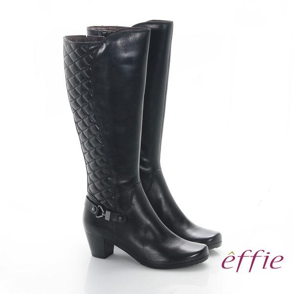 effie 魅力時尚 真皮後側拼接菱格中跟長靴 黑
