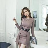 現貨圖色L韓版女裝圓領修身打低長袖收腰時尚包臀洋裝25229/