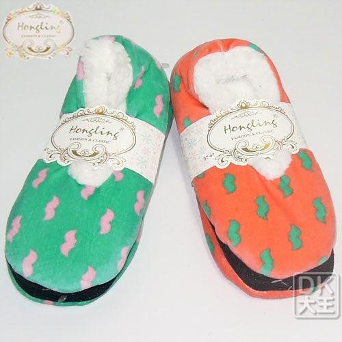 珊瑚絨水波紋防滑室內鞋 保暖拖鞋 類莫蘭迪色 ~DK襪子毛巾大王