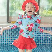 兒童泳裝 花朵 袖蓋 短褲裙 兩件套 七分袖 兒童泳裝【SFC2028】 icoca  12/14