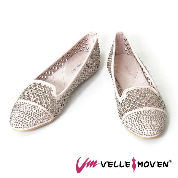 女鞋 菱格洞洞 鏤空 全鑽平底鞋 閃耀登場  VelleMoven  _氣質粉