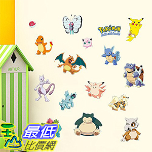 [美國直購] 神奇寶貝 精靈寶可夢周邊 Techmac B01JY1DPGQ Pokemon Go Wall Decals, Peel , 35 x 12 , Pikachu