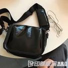 韓國東大門包包女斜挎ins小方包寬肩帶19新款百搭單肩包黑暗系包 印象家品