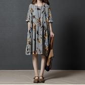 漂亮小媽咪 五分袖棉麻洋裝 【D1280】 魅力 花色 超質感 短袖 寬鬆 孕婦裝 五分袖 加大 輕薄洋裝