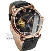 JUNMING 太陽月亮顯示晶鑽時刻機械腕錶 皮革錶帶 男錶 陀飛輪機械錶 玫瑰金x黑 JU1726鑽玫黑
