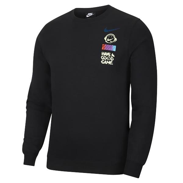 NIKE AS M NSW CLUB CRW COG 男款 長袖 上衣 運動 休閒 慢跑 DC3938010 黑