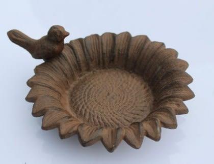 協貿國際鑄鐵工藝品葵花小鳥煙灰缸蠟燭台家居擺件1入