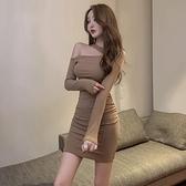 夜店裝 性感緊身短裙包臀裙裝2021年新款女長袖掛脖露肩洋裝 【母親節特惠】
