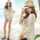 波希米亞風 V領勾織 棉麻罩衫 縷空針織防曬 外搭上衣 泳裝背心外罩