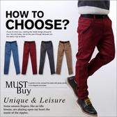 ∥柒零年代∥Unique【N7794J】韓系都會型男skinny顯瘦腰帶黑色滾邊小直統休閒褲(EZ8002)