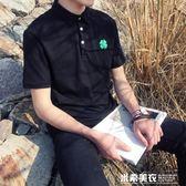 夏季男士短袖T恤青年修身翻領POLO衫學生半袖體恤bf原宿風港風    米希美衣