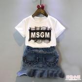 韓版童裝女童寶寶字母蕾絲短袖t恤甜美打底上衣2019夏季新款潮款