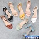 羅馬涼鞋 外貿大碼鞋歐美新款露趾舒適中跟鞋工作鞋涼鞋中空粗跟一字扣女鞋 城市科技