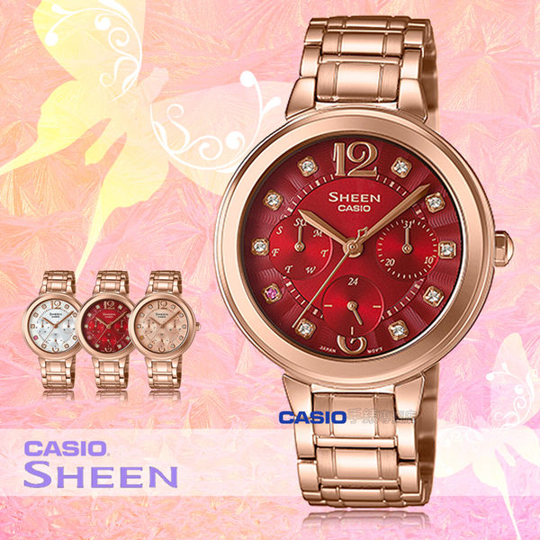 CASIO 卡西歐 手錶專賣店 SHE-3048PG-4A 女錶 不鏽鋼指針錶帶  三眼 防水 全新品 保固一年