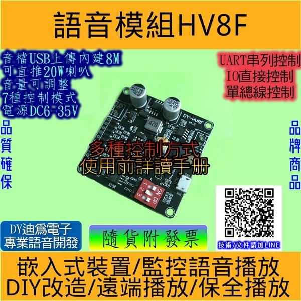 語音模組 工業級內建8M可推20W喇叭音量可調 3種控制7種模式 HV8F[電世界233-6]
