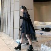 假兩件洋裝蕾絲假兩件連身裙女2020春秋裝新款中長款韓版寬鬆網紗襯衫裙子潮618購