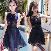 618好康又一發性感夜店禮服小黑裙收腰顯瘦鏤空蕾絲連衣裙2018夏季新款女裝
