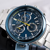 SEIKO 世界第一日本精工 CS系列 剛強魅力直紋經典三眼計時鋼帶腕錶/湛藍 SSB207P1_M