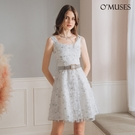 OMUSES 蕾絲網紗金蔥亮粉白色短洋裝