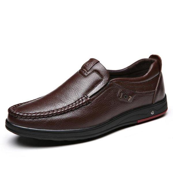 男休閒鞋 平底鞋 新款男士防滑皮鞋大碼真皮鏤空透氣中老年商務男鞋子爸爸鞋《印象精品》q1515