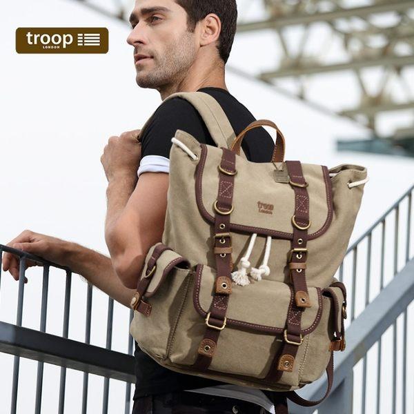 【TROOP】傳統簡約HERITAGE雙肩包/TRP0414WB(水洗米色)