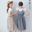 VOL014  基本款彈力素色棉T  花花葉片細肩帶背心裙  唯美白、少女藍~2色