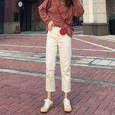 春裝新款米白色直筒牛仔褲女寬鬆闊腿九分褲杏色高腰老爹褲子 「爆米花」