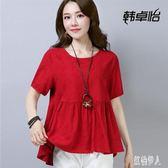 中大尺碼棉麻上衣 短袖娃娃衫中長款遮肚子寬鬆大碼女裝夏季亞麻t恤 rj1335『紅袖伊人』