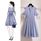 2020 春夏 新 洋裝2020新款復古裙子仙女超仙森系甜美很仙的法國小眾條紋連身裙夏款