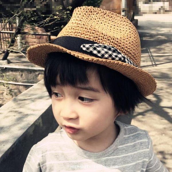 婴儿帽 嬰幼兒童草帽春夏天寶寶遮陽帽子女童男童夏涼帽爵士帽嬰兒太陽帽 城市科技