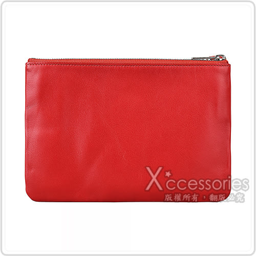 CELINE TRIO經典燙銀LOGO小羊皮三夾層拉鍊斜背包(紅)