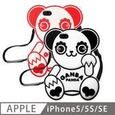 Candies iPhone SE/5/5S 趴趴熊貓矽膠保護殼(紅色)