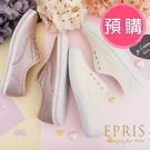 預購 流行女鞋休閒平底鞋 閃亮亮蝴蝶緞帶布鞋 好走不磨腳好搭配 22.5-25.5 EPRIS艾佩絲