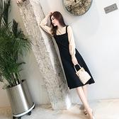 第二件4折 韓國學院風復古氣質背帶拼接寬鬆長袖洋裝