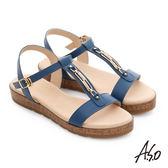 A.S.O 嬉皮假期 工字鑽飾釦厚底涼拖鞋  藍