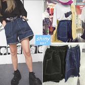 【V1760】shiny藍格子-學院原宿.超寬鬆高腰鬆緊闊腿抽鬚牛仔短褲