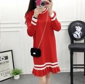紅色洋裝 2018秋裝新款打底裙子長袖中長款針織連身裙