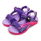 LIKA夢 LOTTO 專業多功能排水磁扣戶外運動涼鞋 童趣瘋玩系列 紫螢桃 0507 大童