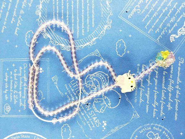 【震撼精品百貨】Hello Kitty 凱蒂貓~伸縮項鍊-珠粉