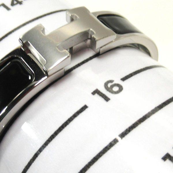 HERMES 愛馬仕 黑色銀釦琺瑯手環 Click H  H700001FP01PM【二手名牌BRAND OFF】