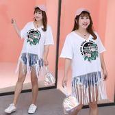 大尺碼  夏季新款大碼女裝胖mm胸前印花V領顯瘦短袖T恤