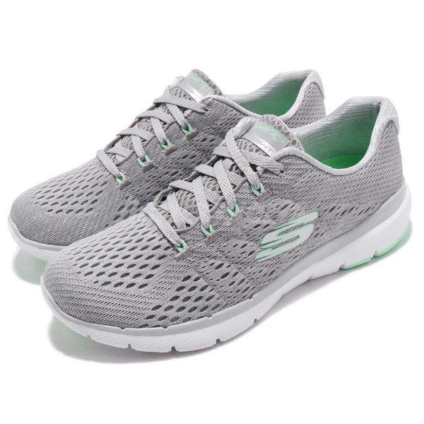 Skechers 訓練鞋 Flex Appeal 3.0-Satellites 灰 綠 針織鞋面 運動鞋 女鞋【PUMP306】 13064GYMN