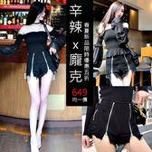 克妹Ke-Mei【AT50868】正韓連線代購 開襟雙拉鍊毛邊高腰牛仔短褲