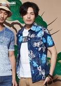 BIG TRAIN  堂獅印花短袖襯衫-男-深藍/白
