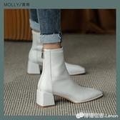 彈力瘦瘦靴襪靴短靴女靴中跟粗跟方頭馬丁靴復古百搭春秋新款