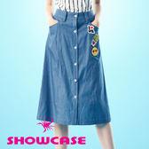 【SHOWCASE】率性單寧薯條笑臉休閒牛仔裙/七分裙(藍)