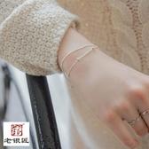 全銀百搭小清新簡約細款個性雙層圓珠手?女S925銀韓版手飾品新 居享優品